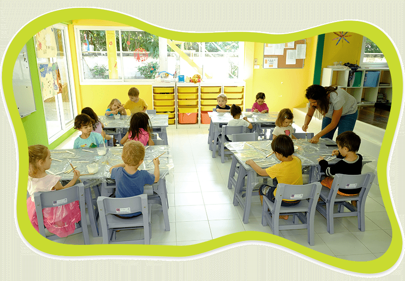 Children learning and studying at French Nursery and International Kindergarten at Centre Acacia in Bangkok